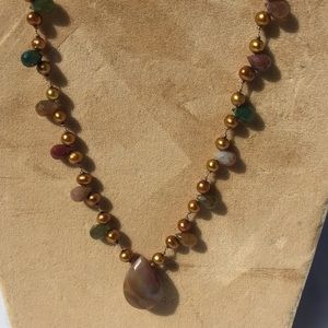 Freshwater pearl and agate drop necklace